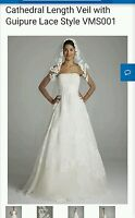 David's Bridal Cathedral Length Veil w/ Guipure Lace, VMS001, Ivory ($200)