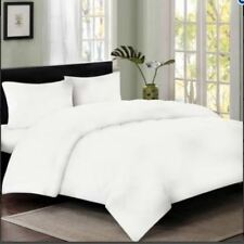 Celebrity 4 Set DOUBLE Bedsheet Plain White Fitted Duvet Quilt with Pillowcase