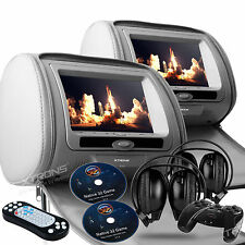 "2017 GRAY DIGITAL HEADREST 9"" LED DVD PLAYER SCREEN MONITORS & ZIPPER COVER"