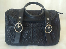 CELINE PARIS LEATHER NAVY BLUE CHAIN TRAPUNTO STITCH HANDBAG, PEWTER HARDWARE.
