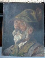 Rolf Habermann,Austrian,1926 Oil on Canvas Portrait Old Man&Hat Painting, signed