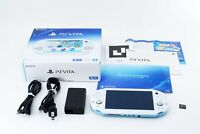 Sony PS Vita Light Blue White PCH-2000 w/ Charger and Box from Japan [Excellent]