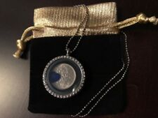 Living Memory Locket Necklace Floating Heart & Lucky Sixpence coin Charm Wedding