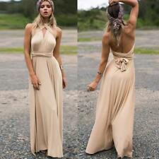 Women's Long Maxi Evening Bridesmaid Formal Multi Way Prom Party Ball Gown A047