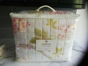 Sanderson Options Double/King Quilted Throw 265 cm x 260 cm Chestnut Tree Pink