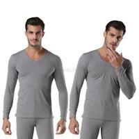 Men's V-neck Thermal Underwear Sets Long Johns Top & Bottom Suit T-shirt + Pants
