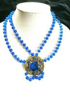 Stunning vintage Czech Necklace with Shades of Blue Rhinestones Great Quality!!