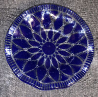 Hand blown Clear To Blue Art Glass Bowl/ Ashtray Ruffled Edges Signed