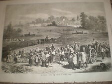 Medoc working the vineyards of Chateau Lafitte 1871 old print