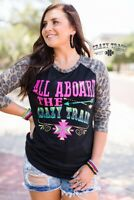 Crazy Train All Aboard Raglan - Leopard - S-3X