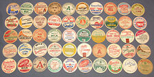 Lot of 50 Vintage Milk Dairy Bottle Caps all Named Dairies all Different Caps