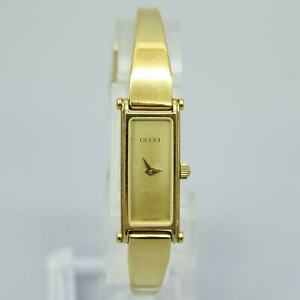 GUCCI 1500 Quartz Women's Watch Vintage Rectangle Gold Plated Swiss made