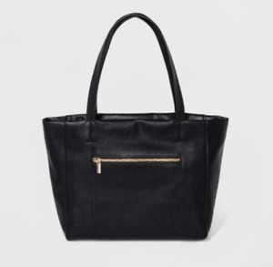 Women's Faux Leather Tote Handbag - A New Day - Black - S/P18