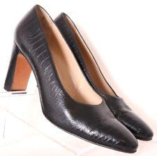 Salvatore Ferragamo DK10189 Blk Croc Print Leather Pump Heel Women's US 9.5AA