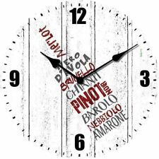 Orologio da Parete In Legno Ø34cm Vini Arredo Enoteca Cucina Casa Cantina Locale