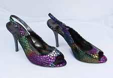 PERtu Multi Coloured Shiny Leather Slingbacks Size 5/38