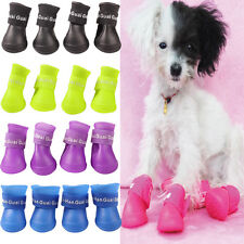 4Pcs Dog Cat Rain Protective Boots Waterproof Puppy Pet Shoes Boots Anti-Slip