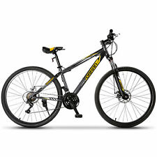 "27.5"" Men's Mountain Bike Shimano Hybrid 21 Speed Bicycle Sports Gray & Orange"