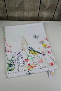 Clayre & Eef - Tischdecke - 100 x 100 cm - So Floral - Blumen / Vögel - Meise