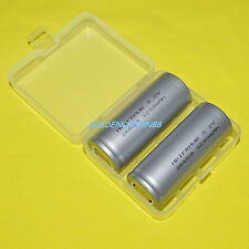 2PC LiFePO4 26650 IFR26650 3.2V 3200mAh battery flat type + 1pc plastic case box