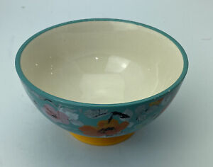 """Pioneer Woman 6"""" Footed Soup Cereal Salad Bowl Turquoise/Yellow"""
