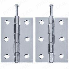 """4x CHROME LOOSE PIN DOOR HINGES 3""""/75mm Strong Silver Butt Frame Cabinet Hanging"""