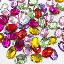 100pcs Mix Oval Rhinestones Flat Back Acrylic Gems Crystal Stones Sewing Beads
