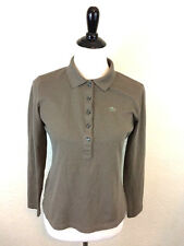 #S14 Lacoste Made In France Sz 42 US 10 Taupe Cotton Long Sleeve Polo Shirt