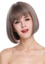 Wig Me Up Perruque pour Femme Carré Court Lisse Frange Gris Brun Rose Mélange