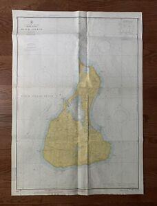 "Vintage 1968 Block Island Nautical Chart Map - 29"" x 41"""