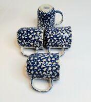 Set of 4 Folk Craft Sponge by Tienshan Mugs Blue Hearts Spngeware Stoneware