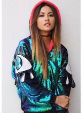ALL OVER SEQUIN EYE PATCH UNIVERSE TROPHY HOOD BOMBER JACKET DISCOUNT VTG IBIZA