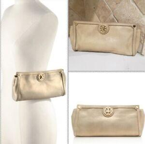 Tory Burch gold frame deco clutch handbag