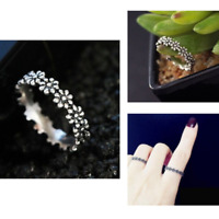 Simple Fashion 925 Silver Daisy Flower Wedding Proposal Jewelry Ring For Women
