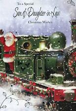 To A Special Son & Daughter-in-Law - Santa With A Steam Engine Christmas Card