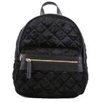 Womens Quilted Velour Backpack Shiny Velvet Medium Size Zip up Mens Rucksack