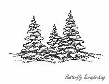 Three Snowy Pine Trees Wood Mounted Rubber Stamp New NORTHWOODS E685 New