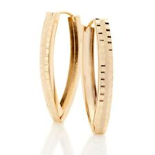 Technibond Diamond Cut Hugger 30mm Hoop Earrings 14K Yellow Gold Clad Silver 925