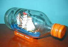 BAR HARBOR, MAINE  Ship in a Bottle-  THREE MASTER BARQUE Wooden Ship Model!