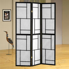 3 Folding Screen Panels Wood Divider  Morden Shoji Room Oriental Japanese Black