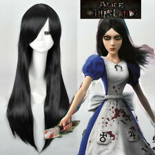 Alice Madness Returns cosplay wig Womens black long straight full wigs K3