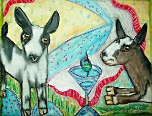 Mini Alpine 5x7 Dairy Goat Art Print Signed by Artist KSams Farm Countryside