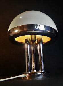 Italian 1970s Harvey Guzzini 3 arm designer mushroom lamp chrome edged shade