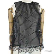 Christopher Kane Black Sheer Organza Broderie Anglaise Babydoll Top UK8 IT40