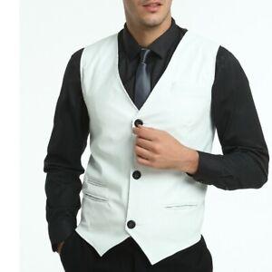 Men's Slim Fit Vest Jacket Faux Leather Casual Waistcoat Western style Leisure D