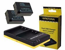 2 x Akku + Dual-Ladegerät für Panasonic Lumix DMC-G5, DMC-G6, DMC-G81H - BLC12