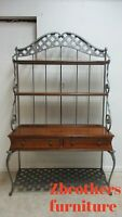 Ethan Allen Country French Bakers Rack Hutch Shelf China Cabinet Wrought Iron