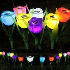 Outdoor Solar Powered Tulip Flower LED Light Yard Garden Path Landscape Lamp HX