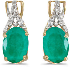 14k Yellow Gold Oval Emerald And Diamond Earrings (CM-E2620X-05)