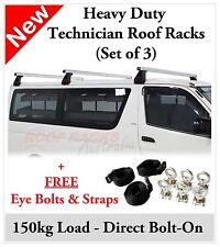 Toyota Hiace 2004-2012 Industrial Roof Racks x 3 - 150kg load - FREE ACCESSORIES